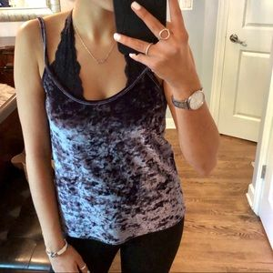 MISSGUIDED Metallic Velvet Tank Top